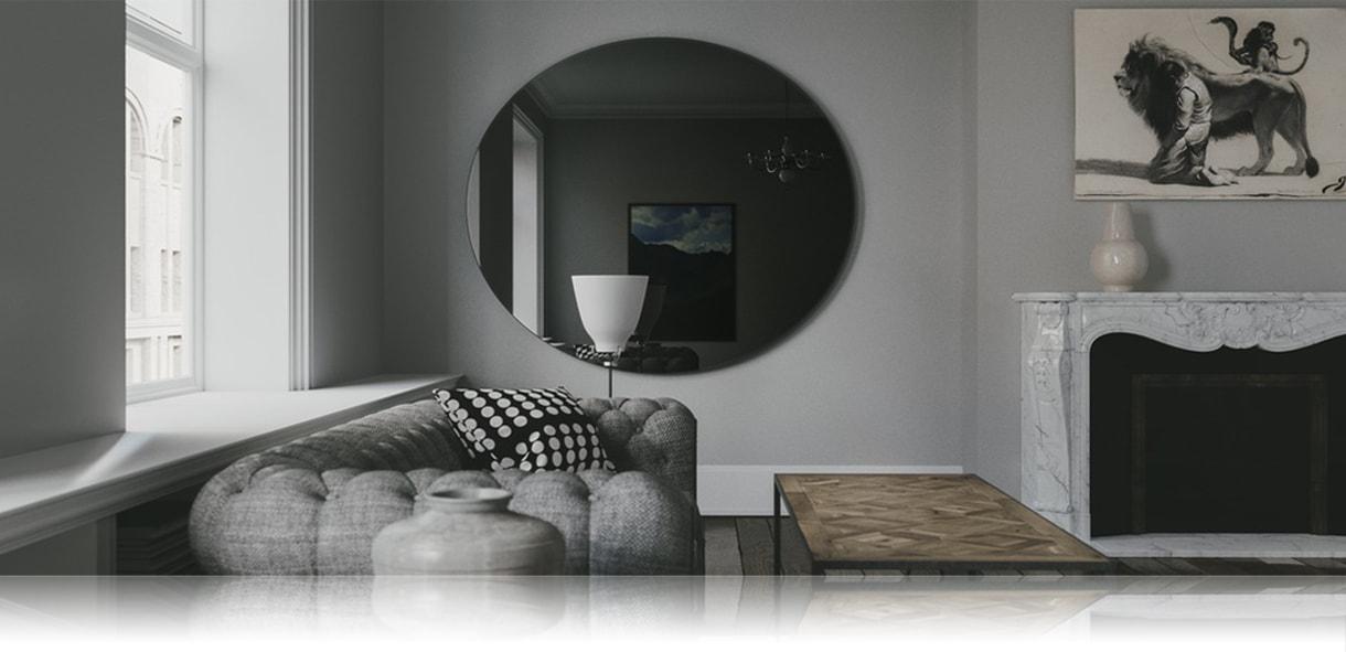 Цветное зеркало круглое на стене