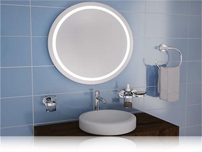 LED зеркало со светодиодной подсветкой круглое над раковиной в ванной комнате