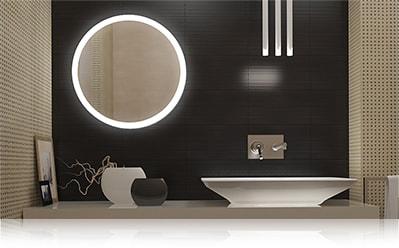 LED зеркало со светодиодной подсветкой круглое с подсветкой по периметру в ванной комнате