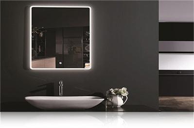 LED зеркало со светодиодной подсветкой квадратное над раковиной в ванной комнате