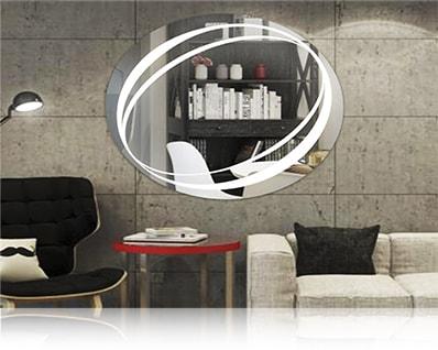 LED зеркало со светодиодной подсветкой овальное над раковиной в ванной комнате