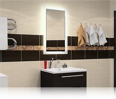 LED зеркало со светодиодной подсветкой прямоугольное над раковиной в ванной комнате