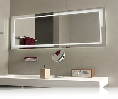 LED зеркало со светодиодной подсветкой прямоугольное с подсветкой по периметру в ванной комнате