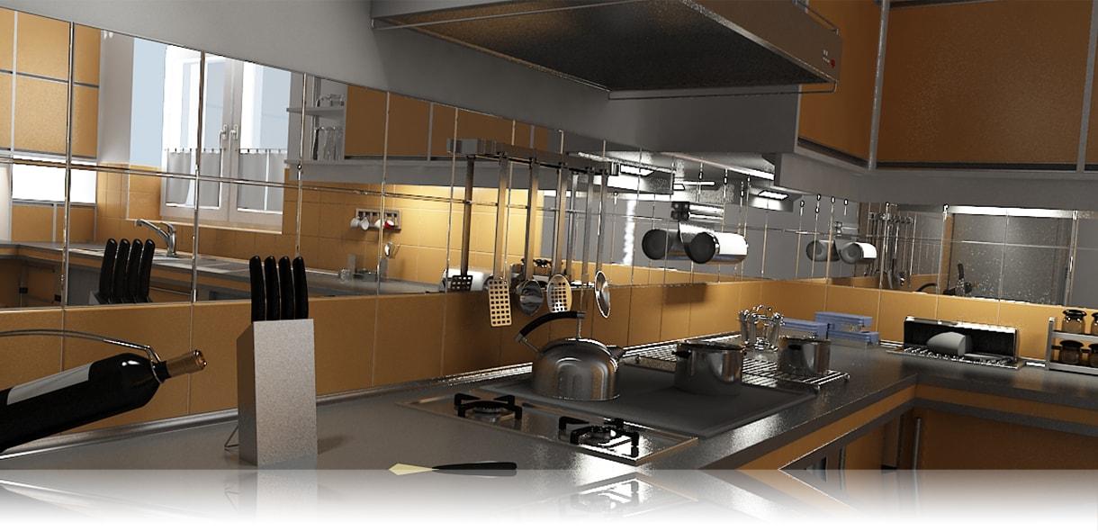 Зеркальная плитка на кухне стального цвета